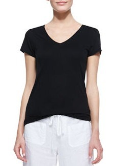 Cotton Short-Sleeve V-Neck Tee, Black   Cotton Short-Sleeve V-Neck Tee, Black