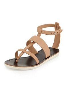 Vince Crete Flat Strappy Leather Sandal, Nude