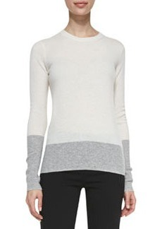 Crewneck Colorblock Cashmere Sweater, White/Heather Steel   Crewneck Colorblock Cashmere Sweater, White/Heather Steel