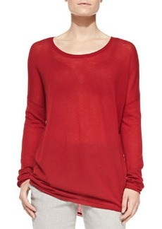 Crewneck Long-Sleeve Sweater, Claret   Crewneck Long-Sleeve Sweater, Claret