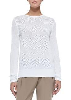 Crewneck Zigzag Mesh Sweater, White   Crewneck Zigzag Mesh Sweater, White