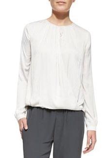 Cross-Front Drape Long-Sleeve Blouse   Cross-Front Drape Long-Sleeve Blouse