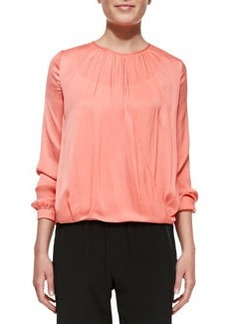 Cross-Front Draped Long-Sleeve Top   Cross-Front Draped Long-Sleeve Top