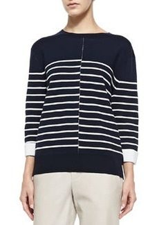 Double-Face Striped Knit Sweater, Coastal/Off White   Double-Face Striped Knit Sweater, Coastal/Off White