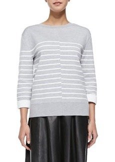 Double-Face Striped Knit Sweater   Double-Face Striped Knit Sweater