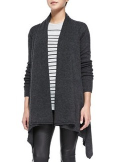 Draped Open-Front Cardigan, Heather Carbon   Draped Open-Front Cardigan, Heather Carbon