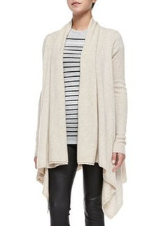 Draped Open-Front Cardigan, Heather Khaki   Draped Open-Front Cardigan, Heather Khaki