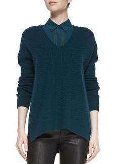 Drop-Sleeve Ribbed Knit Sweater, Twilight   Drop-Sleeve Ribbed Knit Sweater, Twilight