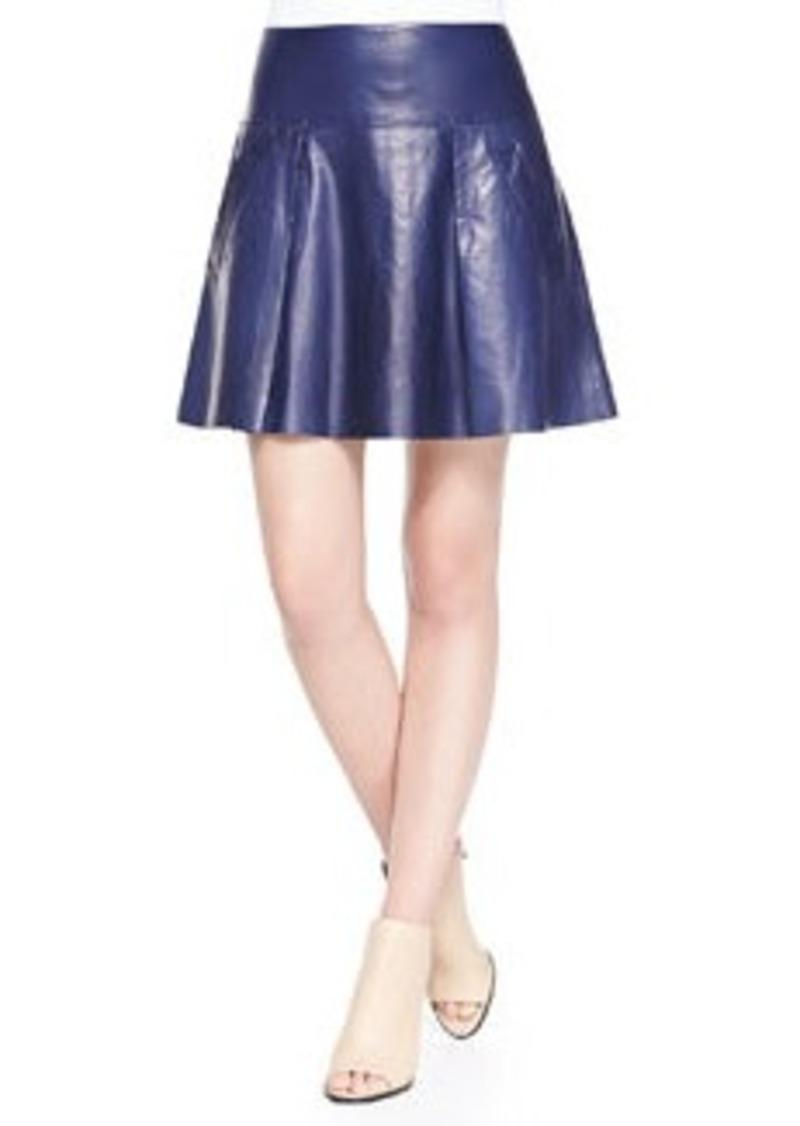 drop yoke pleated leather skirt drop yoke pleated leather