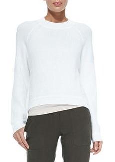 Engineered Rib-Knit Sweatshirt, Optic White   Engineered Rib-Knit Sweatshirt, Optic White