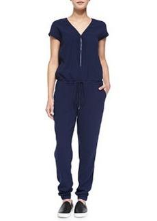 Front-Zip Drawstring Jersey Jumpsuit   Front-Zip Drawstring Jersey Jumpsuit