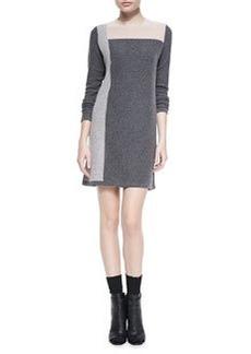 Geo Intarsia Cashmere Sweaterdress, Thunder Combo   Geo Intarsia Cashmere Sweaterdress, Thunder Combo