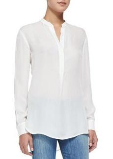 Half-Placket Silk Tunic, Off White   Half-Placket Silk Tunic, Off White
