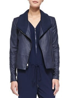 Knit-Collar Leather Jacket   Knit-Collar Leather Jacket
