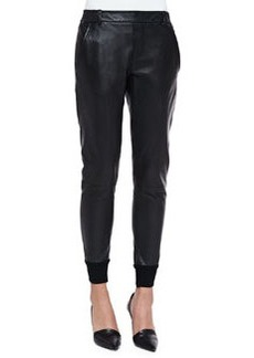 Knit-Cuff Leather Jogging Trousers, Black   Knit-Cuff Leather Jogging Trousers, Black
