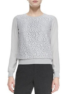 Lace-Overlay Knit-Trim Top   Lace-Overlay Knit-Trim Top