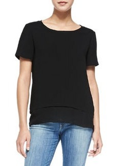 Layered-Hem Tee, Black   Layered-Hem Tee, Black