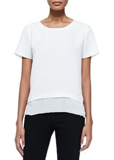 Layered-Hem Tee, Off White   Layered-Hem Tee, Off White