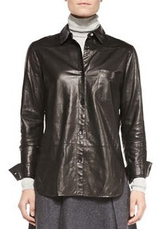 Leather Button-Front Shirt   Leather Button-Front Shirt