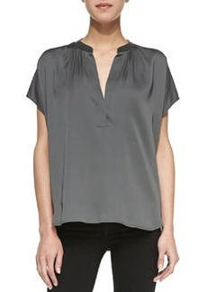 Leather-Contrast Silk Popover Blouse   Leather-Contrast Silk Popover Blouse