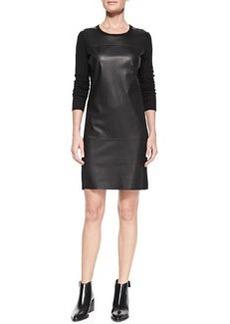 Leather-Paneled Long-Sleeve Wool Dress   Leather-Paneled Long-Sleeve Wool Dress