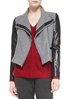 Leather-Sleeve Boucle Jacket   Leather-Sleeve Boucle Jacket