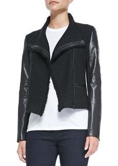 Leather-Sleeve Boucle Scuba Jacket   Leather-Sleeve Boucle Scuba Jacket