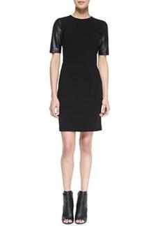 Leather-Sleeve Pencil Dress   Leather-Sleeve Pencil Dress