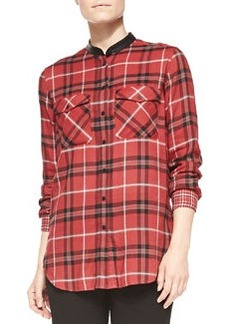Leather-Trim Plaid Shirt, Claret   Leather-Trim Plaid Shirt, Claret