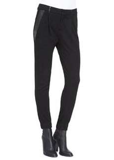 Leather-Trim Relaxed Trousers   Leather-Trim Relaxed Trousers