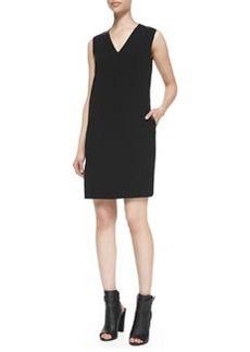 Leather-Trim V-Neck Shift Dress   Leather-Trim V-Neck Shift Dress