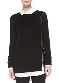 Leather-Trim Wool Sweater   Leather-Trim Wool Sweater