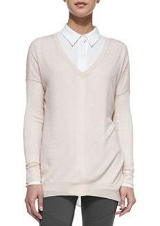 Lightweight V-Neck Drop-Sleeve Sweater, Ballet   Lightweight V-Neck Drop-Sleeve Sweater, Ballet