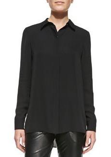 Long-Sleeve Button-Down Blouse, Black   Long-Sleeve Button-Down Blouse, Black