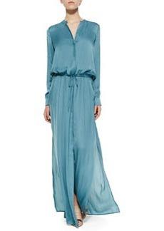 Long-Sleeve Drawstring Maxi Dress   Long-Sleeve Drawstring Maxi Dress