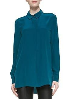Long-Sleeve Half-Placket Silk Blouse   Long-Sleeve Half-Placket Silk Blouse