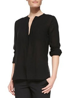 Long-Sleeve Shirt with Trapunto Placket, Black   Long-Sleeve Shirt with Trapunto Placket, Black