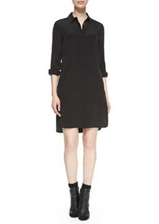 Long-Sleeve Silk Shirtdress, Black   Long-Sleeve Silk Shirtdress, Black
