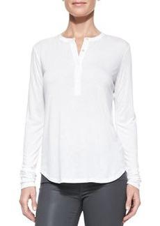 Long-Sleeve Silk-Trim Slub Henley, White   Long-Sleeve Silk-Trim Slub Henley, White