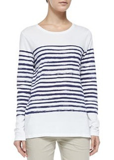 Long-Sleeve Tee W/ Marker Stripes, White/Blue Marine   Long-Sleeve Tee W/ Marker Stripes, White/Blue Marine