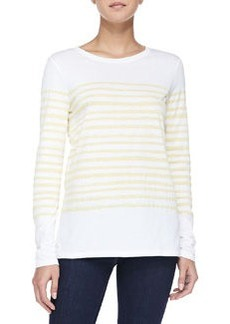 Long-Sleeve Tee W/ Marker Stripes, White/Marigold   Long-Sleeve Tee W/ Marker Stripes, White/Marigold