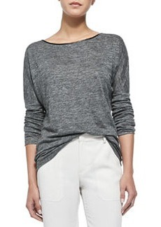 Long-Sleeve Tee with Piping, Charcoal   Long-Sleeve Tee with Piping, Charcoal