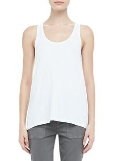 Loose Sleeveless Jersey Tank, White   Loose Sleeveless Jersey Tank, White