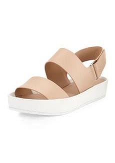 Vince Marett Leather Platform Sandal, Nude/Bone