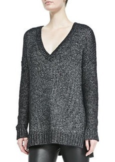 Metallic V-Neck Knit Sweater, Black   Metallic V-Neck Knit Sweater, Black