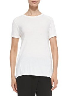 Mixed-Fabric Short-Sleeve Tee   Mixed-Fabric Short-Sleeve Tee