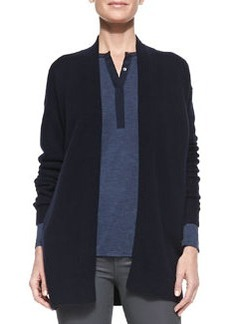 Mixed-Gauge Open-Front Cashmere Cardigan, Coastal   Mixed-Gauge Open-Front Cashmere Cardigan, Coastal