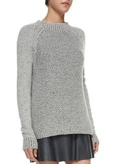 Mixed-Knit Mock-Neck Sweater   Mixed-Knit Mock-Neck Sweater