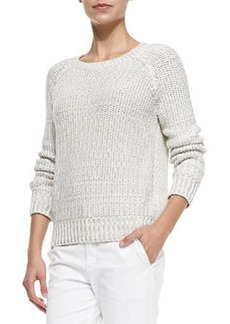 Mixed-Knit Rib-Trim Sweater   Mixed-Knit Rib-Trim Sweater