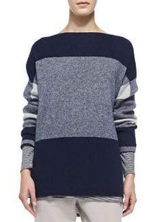 Mixed-Pattern Knit Sweater   Mixed-Pattern Knit Sweater